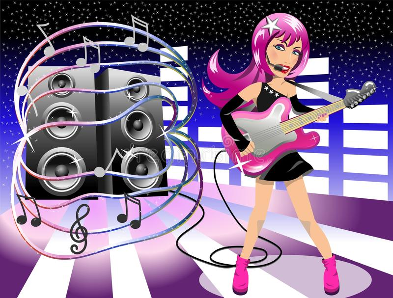 Download Woman Rockstar Performing Live Stock Vector - Illustration of live, display: 29094716