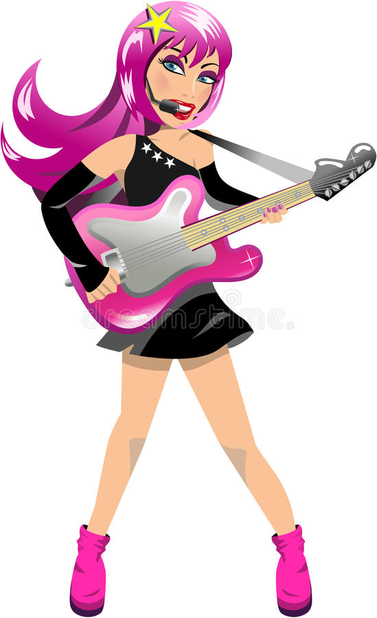 Download Woman Rockstar Playing Electric Guitar Stock Vector