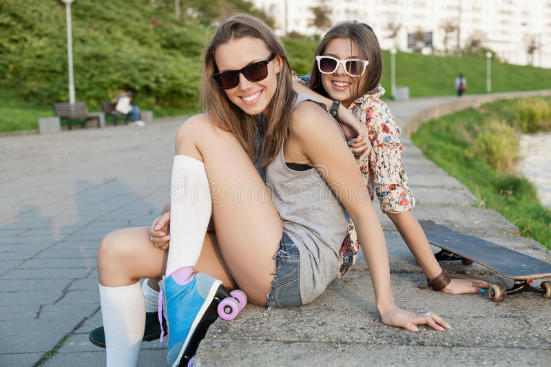 Woman With Roller Skates Stock Image