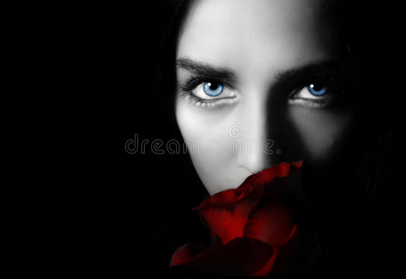 Woman with rose stock image
