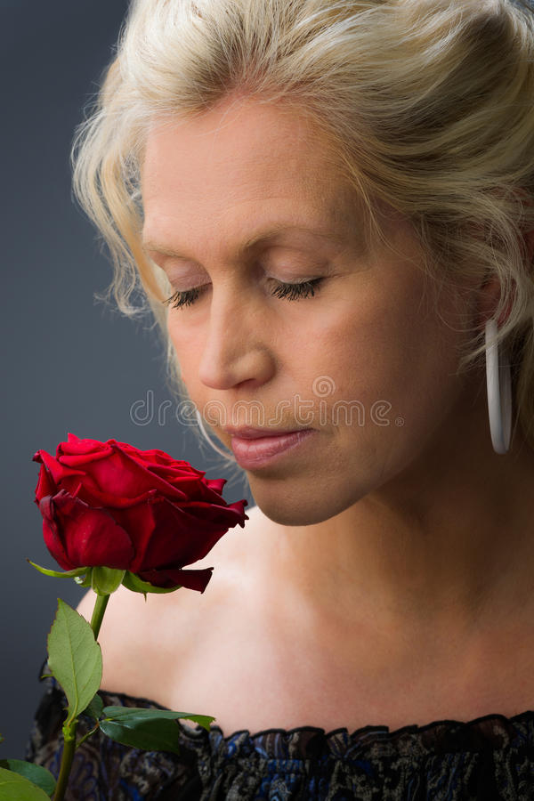 Download Woman and rose stock image. Image of human, studio, person - 24824963