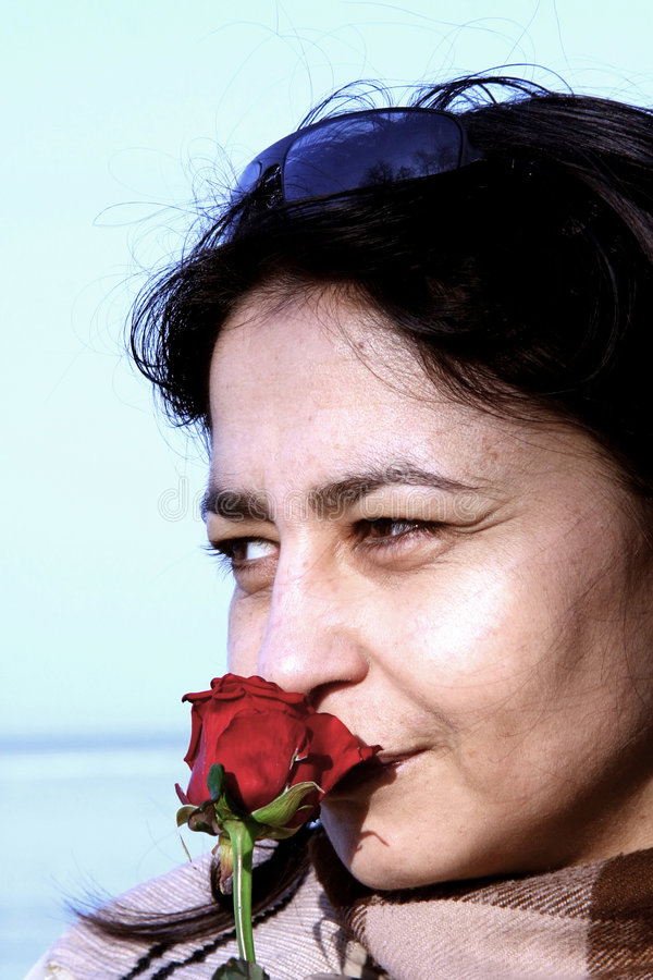 Download Woman with a rose stock image. Image of meditative, outdoor - 460851