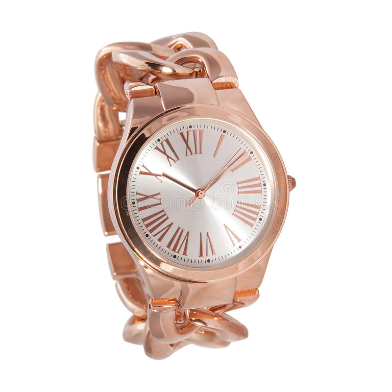 Woman rose gold watch. Woman watch, rose gold color, rose gold bracelet stock photo
