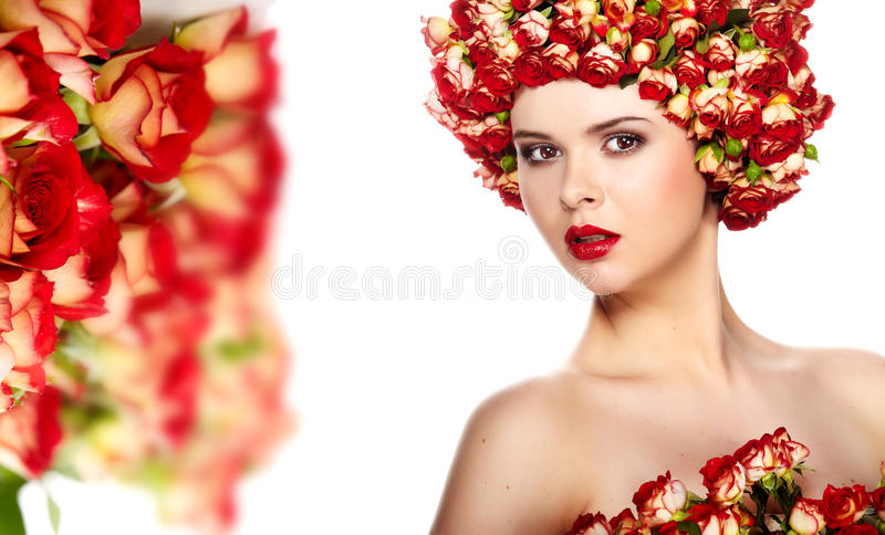 Download Woman With Rose In Hair Stock Image - Image: 24246521