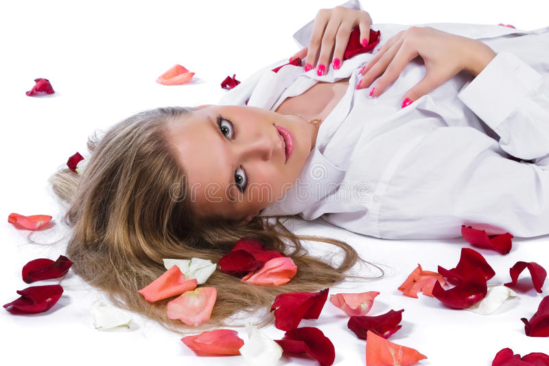 Download Woman with rose-petal stock image. Image of beautiful - 12038725