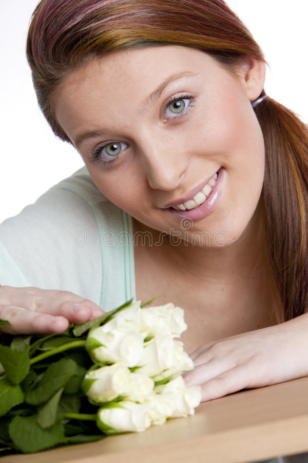 Woman With Roses Royalty Free Stock Photo