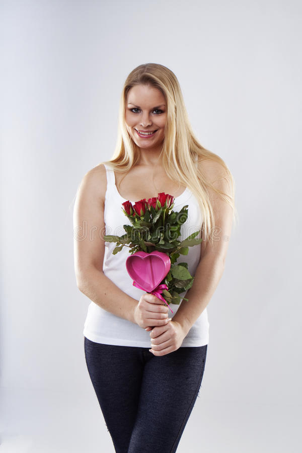 Download Woman With Roses Stock Photo - Image: 12567180