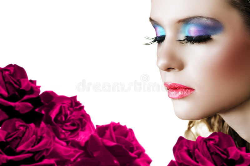 Download Woman with roses. stock photo. Image of eyes, lashes, burgundy - 9412710