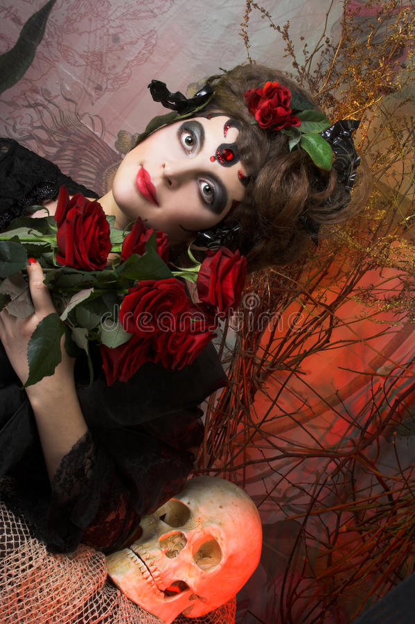 Download Woman with roses and skull stock image. Image of hairstyle - 40341181