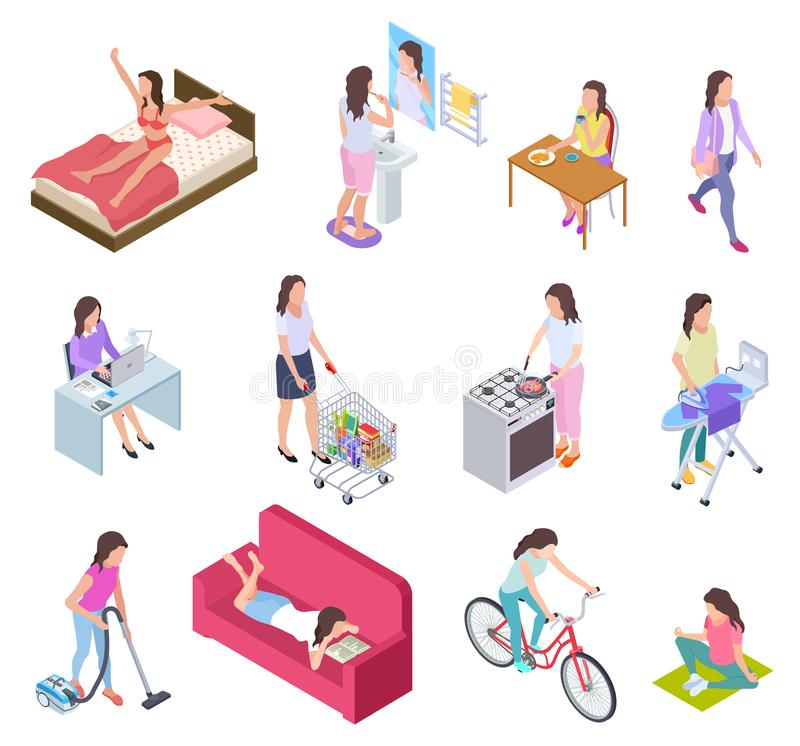 Woman daily routine. Housewife ironing and shopping, doing fitness and cooking. Female everyday lifestyle isometric stock illustration