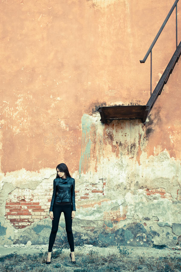 Woman On Ruins Near Stairway Stock Image