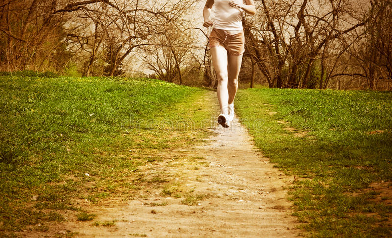 Download Woman Runner In A Green Forest. Stock Photo - Image: 10812600