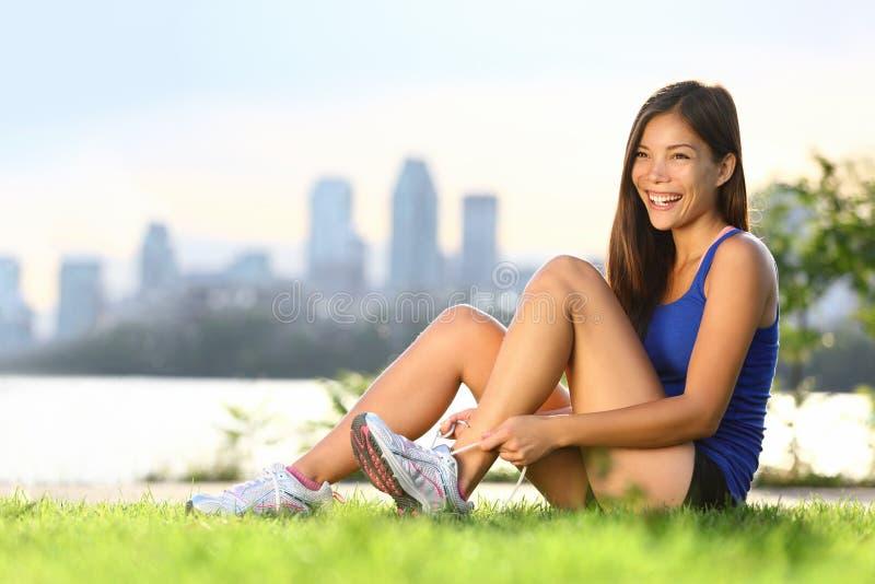 Woman runner happy stock photos