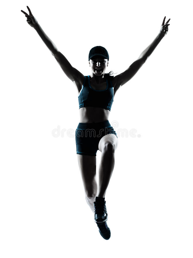 Download Woman Runner Jogger Jumping Victorious Stock Photo - Image: 24699012