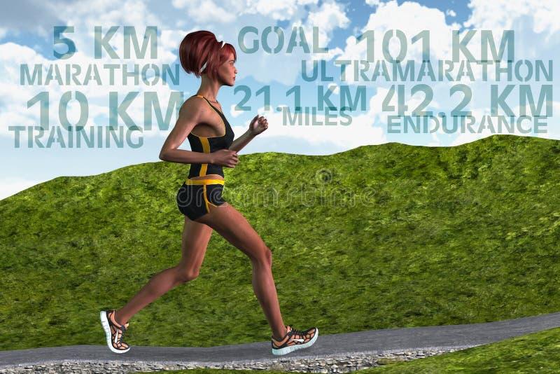 Woman Runner Marathon Running Training Endurance Sports stock image