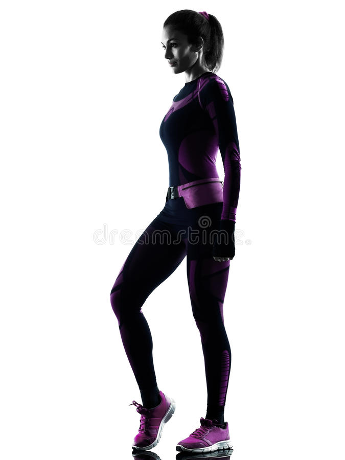 Woman runner running jogger jogging isolated silhouette shadow stock photography