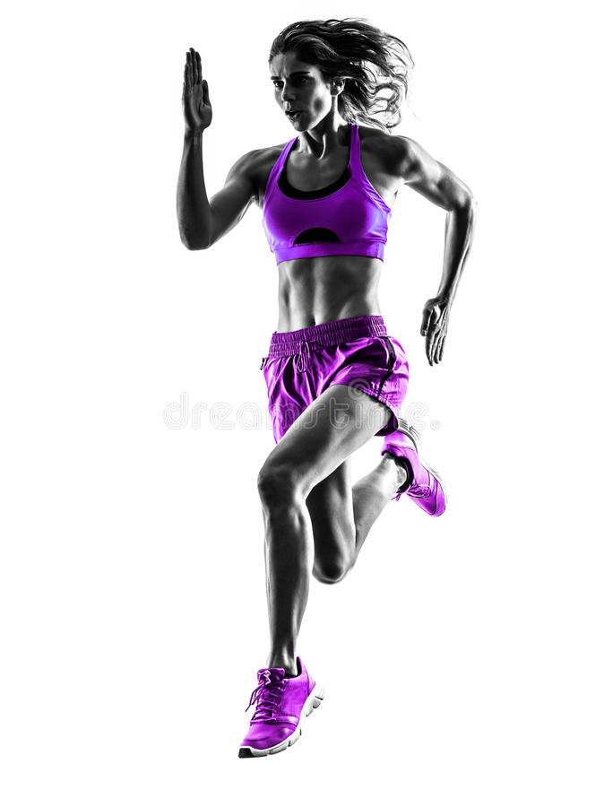 Woman runner running jogger jogging silhouette royalty free stock images