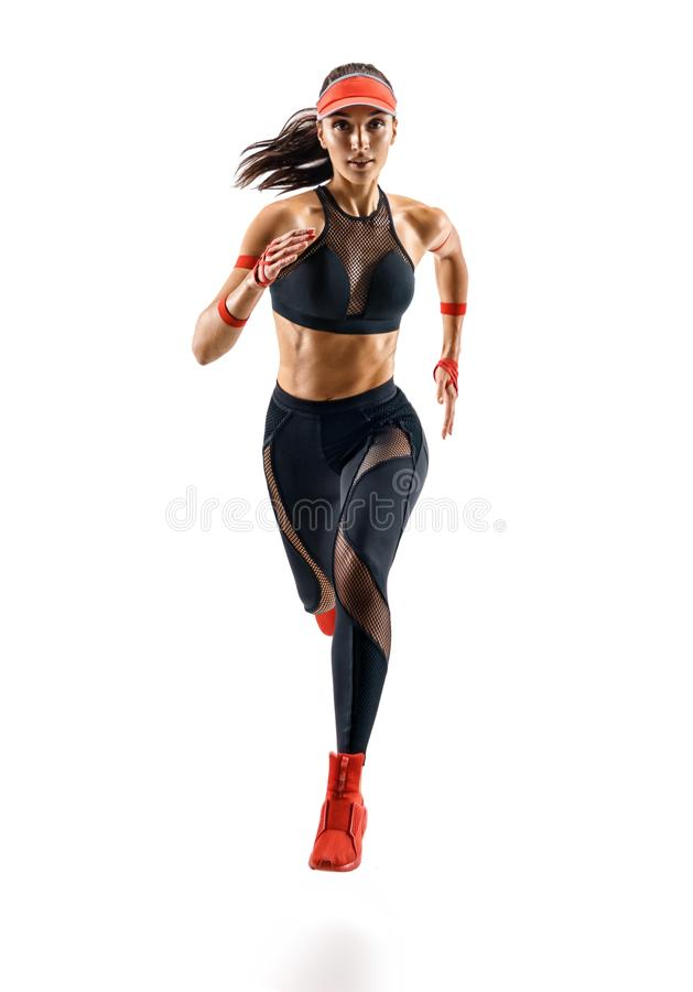 Woman runner in silhouette isolated on white background. Dynamic movement. Sport and healthy lifestyle stock photos