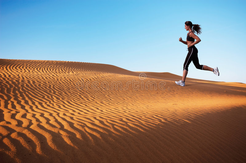 Download Woman running stock image. Image of dunes, foot, shape - 2237619
