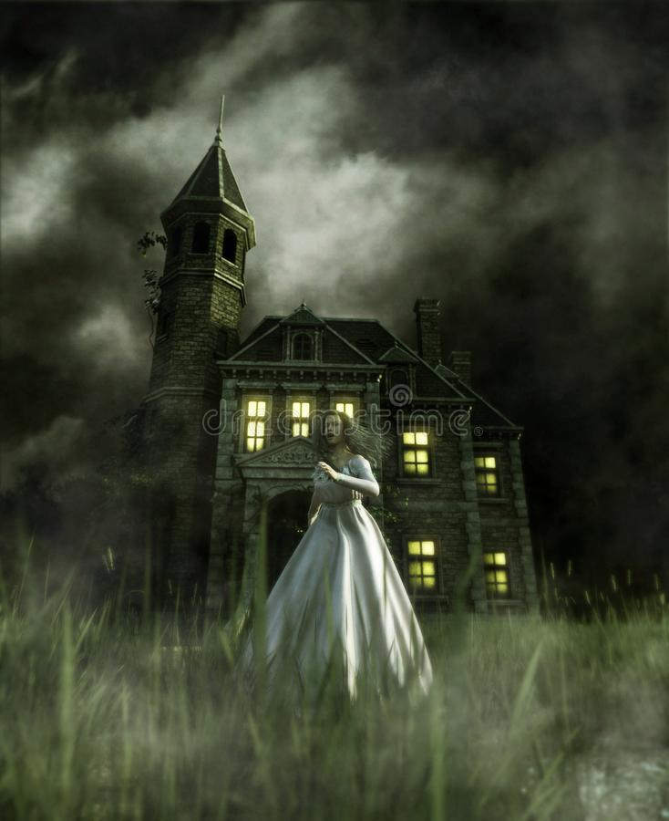 Woman running away from a haunted house. 3d illustration vector illustration