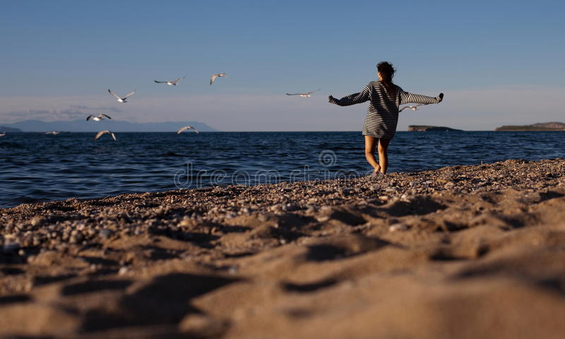 Download Woman running on beach stock image. Image of outside - 24242373