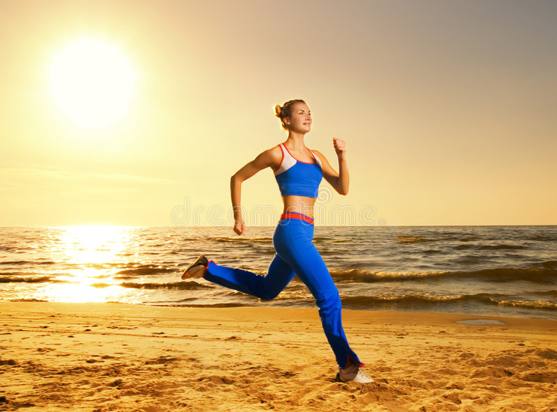 Download Woman running on a beach stock image. Image of shape, fitness - 5328497