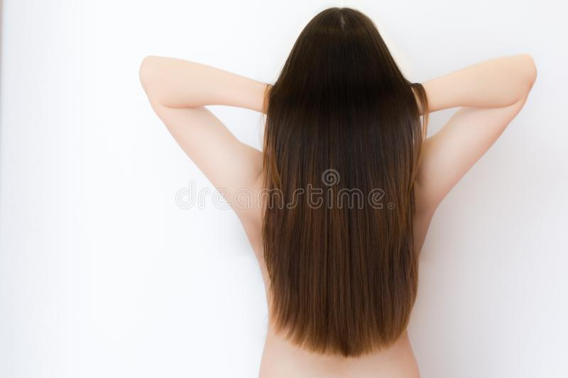 The back of a sexy, naked, female model with long, brown, healthy hair royalty free stock photos