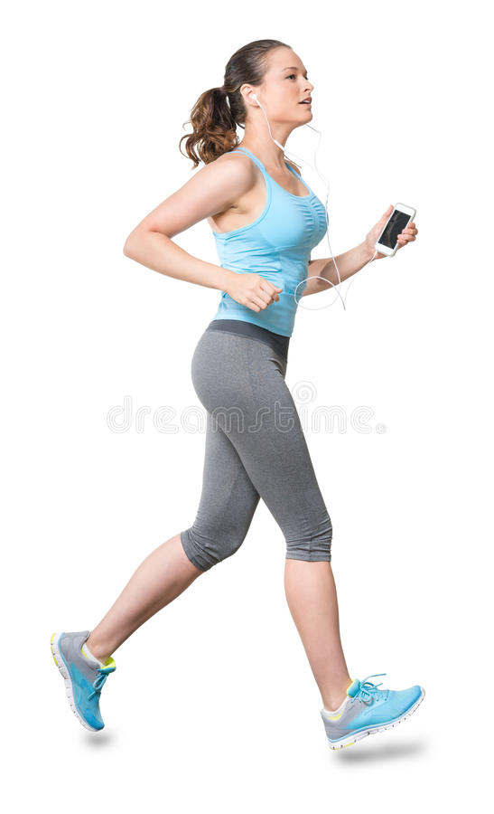 Free Woman Running Jogging With Earbuds Isolated On White Background Stock Photos - 46179953