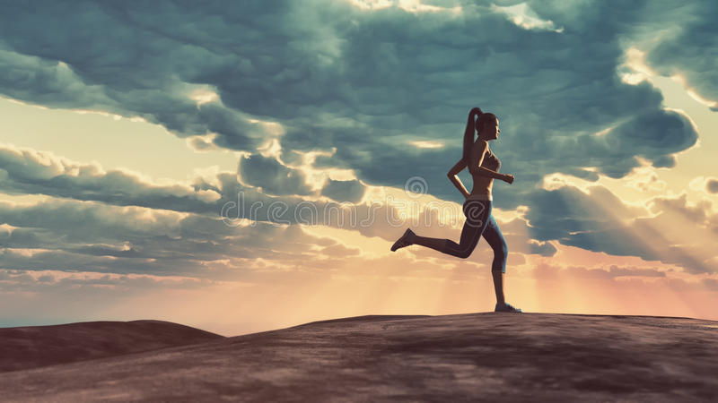 Woman running royalty free illustration