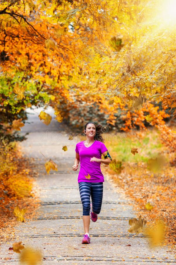 Woman running in a park during autumn time royalty free stock photography