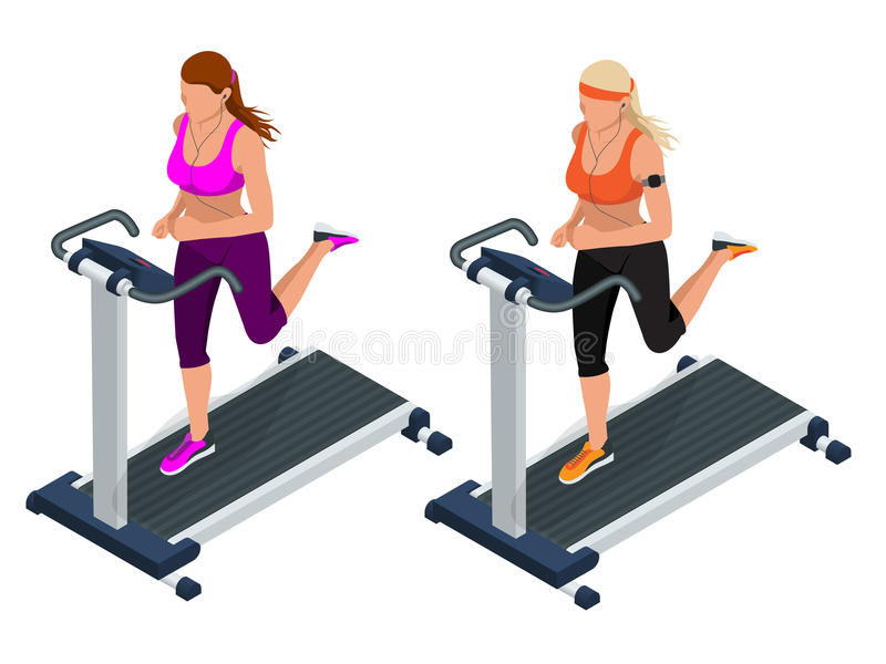 Woman on a running simulator. Pretty girl working out in a treadmill at the gym. Treadmill. Flat 3d vector isometric vector illustration