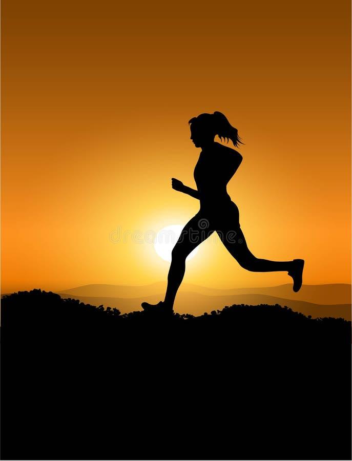 Woman running during sunset royalty free illustration