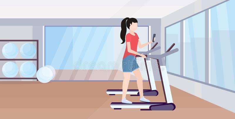 Woman running on treadmill girl using smartphone while training workout digital gadget addiction concept modern gym vector illustration