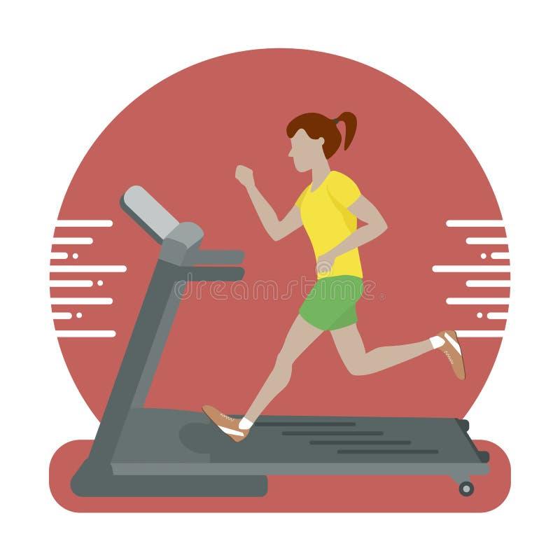 Woman Running on Treadmill. Vector illustration flat design royalty free illustration