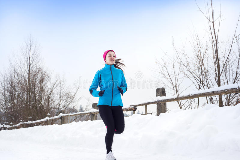 Download Woman running in winter stock image. Image of cold, foot - 28939459