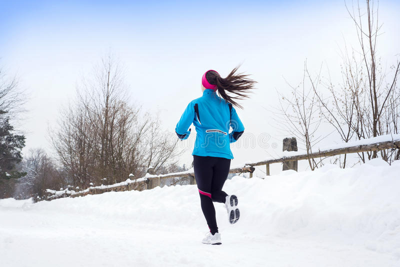 Download Woman Running In Winter Royalty Free Stock Image - Image: 28939516