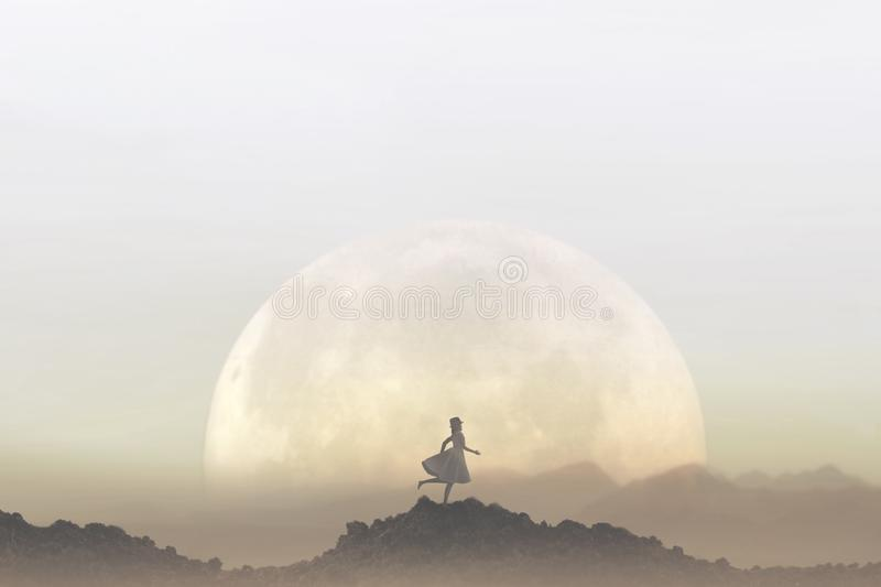 Woman runs free in the middle of nature in a lunar landscape royalty free stock photos