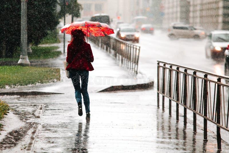 Woman runs with umbrella when heavy rain drops royalty free stock photo