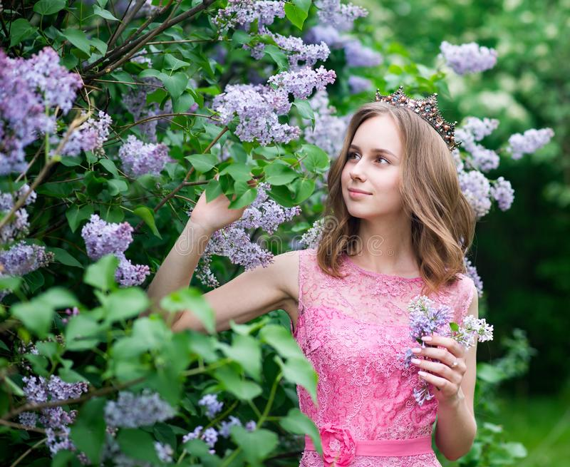 Woman, russian model in blossom spring lilac park stock image