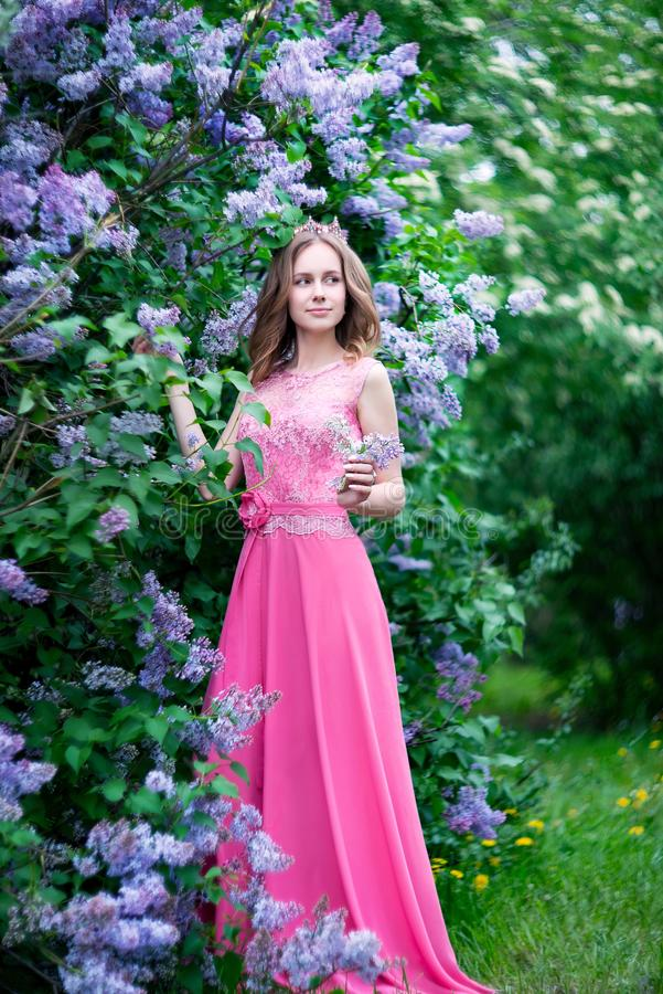 Woman, russian model in bloom spring lilac park stock images