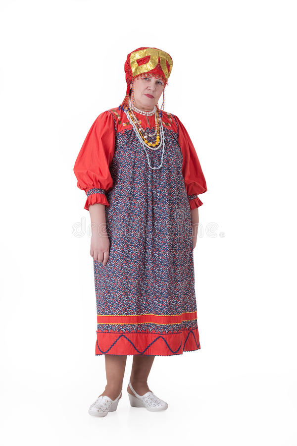 Woman In Russian Traditional Clothing stock photos