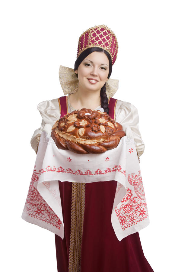 Woman in Russian traditional costume stock image