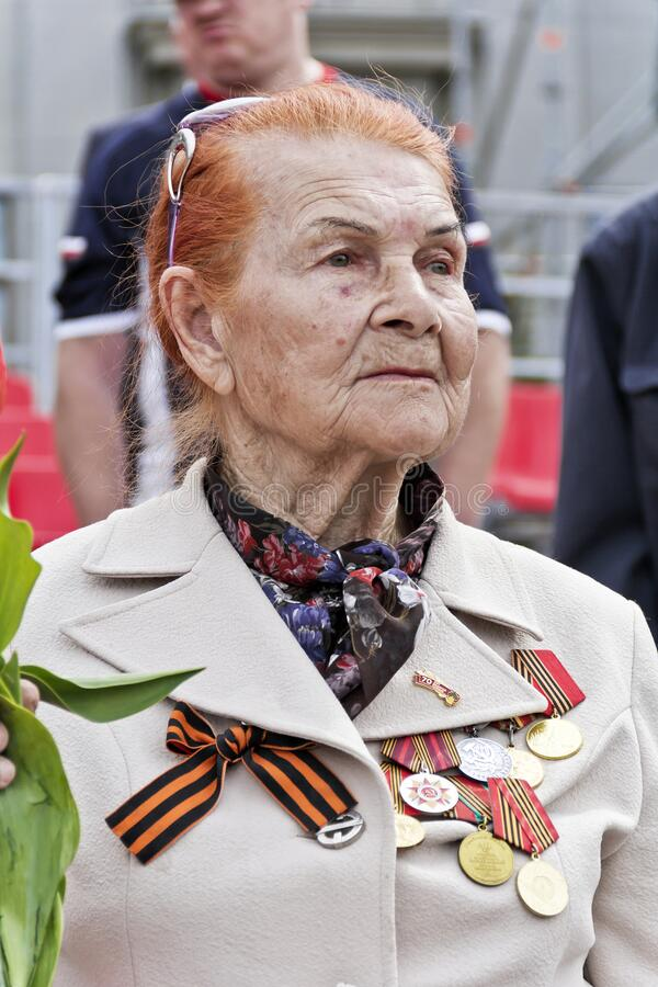 Woman is Russian veteran on celebration at the parade annual Victory Day, May, 9, 2017 in Samara, Russia stock photography
