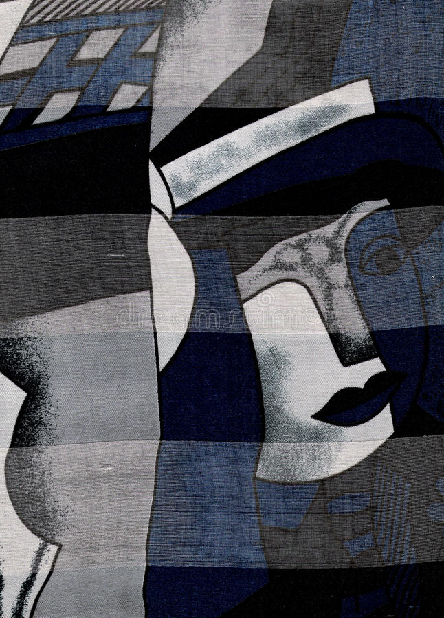 Woman's abstract portrait. Silk woman's abstract portrait in the style of Picasso stock photography