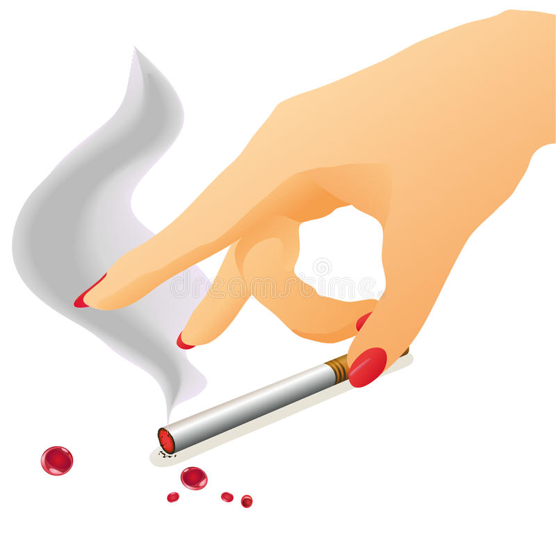 Download Woman`s Arm And Cigarette With Fume Stock Vector - Image: 23775125