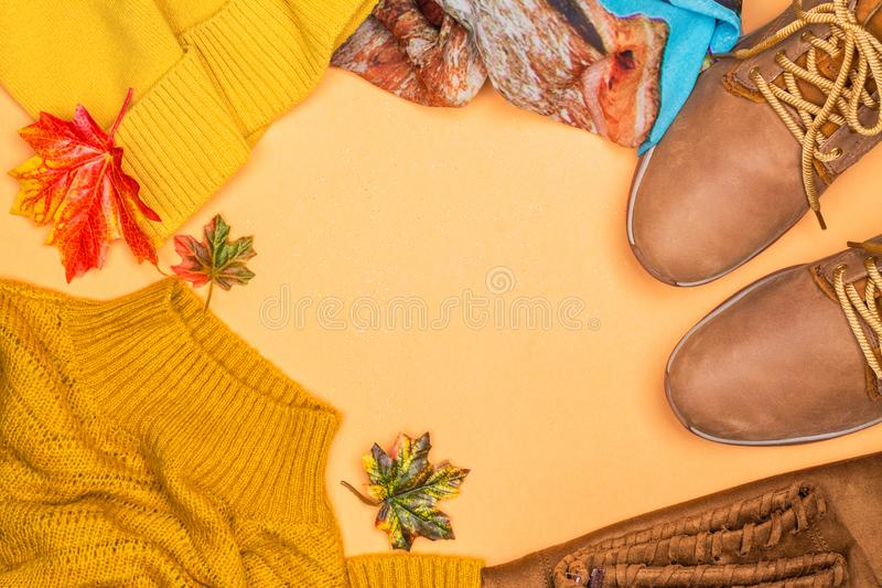Woman`s autumn fashion set royalty free stock image