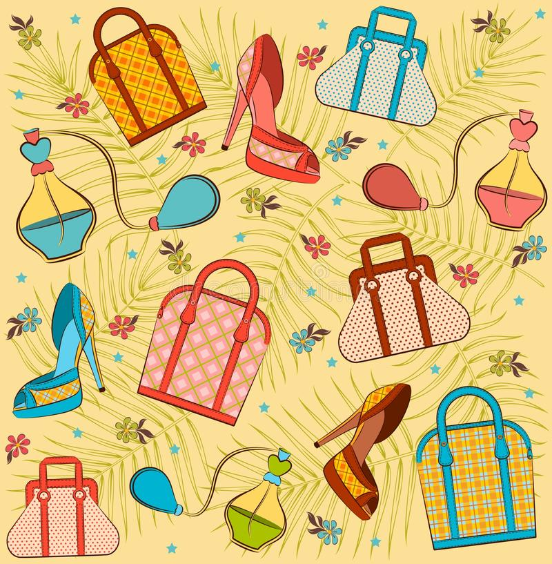 Woman's bag, perfume and shoes. stock illustration