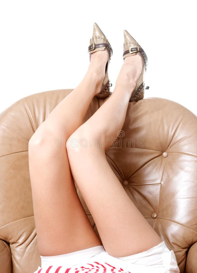 Woman's beautiful long legs royalty free stock images