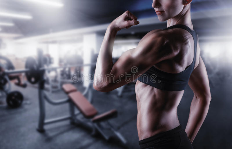 Woman's body bodybuilder stock photos