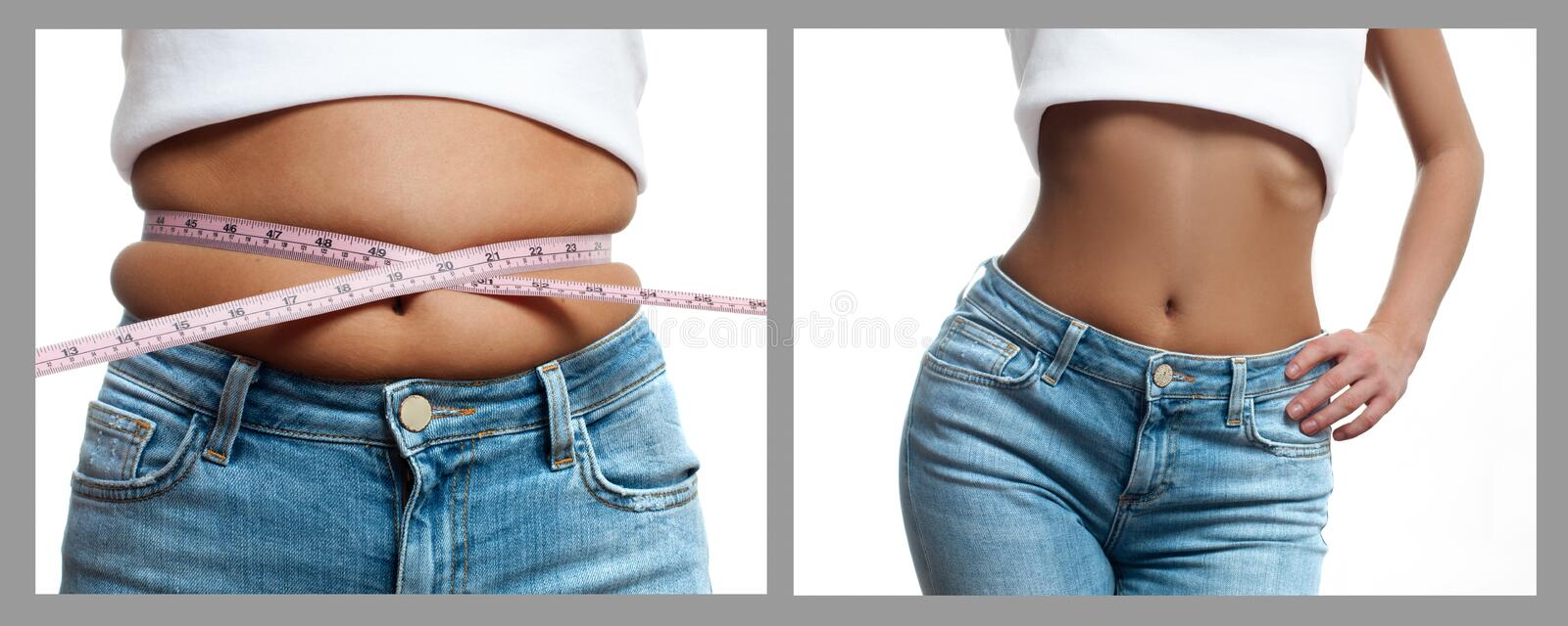 Woman`s body before and after weight loss. Diet concept royalty free stock photography